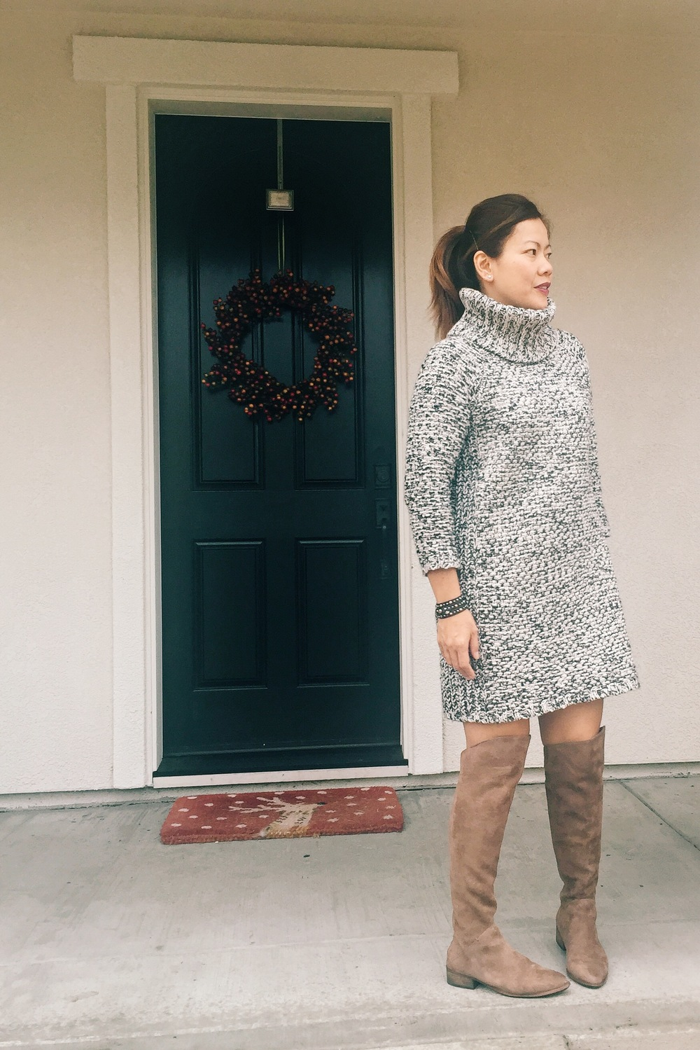Sweater dress (old) similar here. OTK boots (old) similar here.