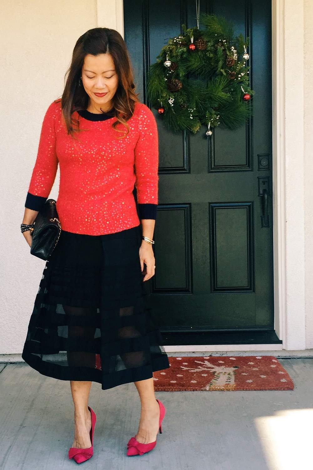 Holiday dressing. J. Crew sweater (old) / Tibi skirt (old) / J ustfab  pumps (old)