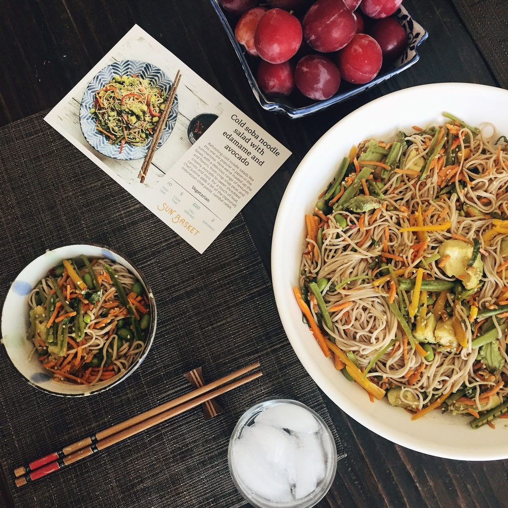 Cold soba noodle salad with edamame and avocado.