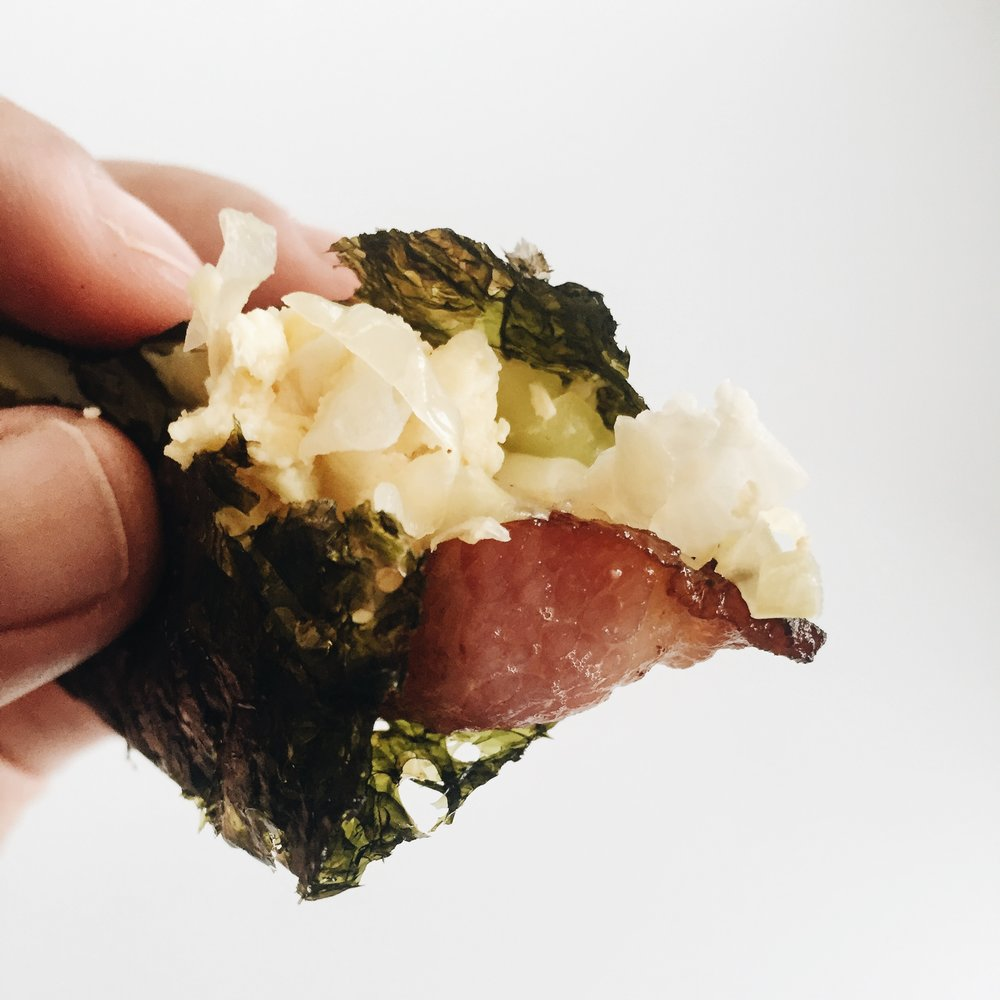 Details: seaweed, sauerkraut, and bacon