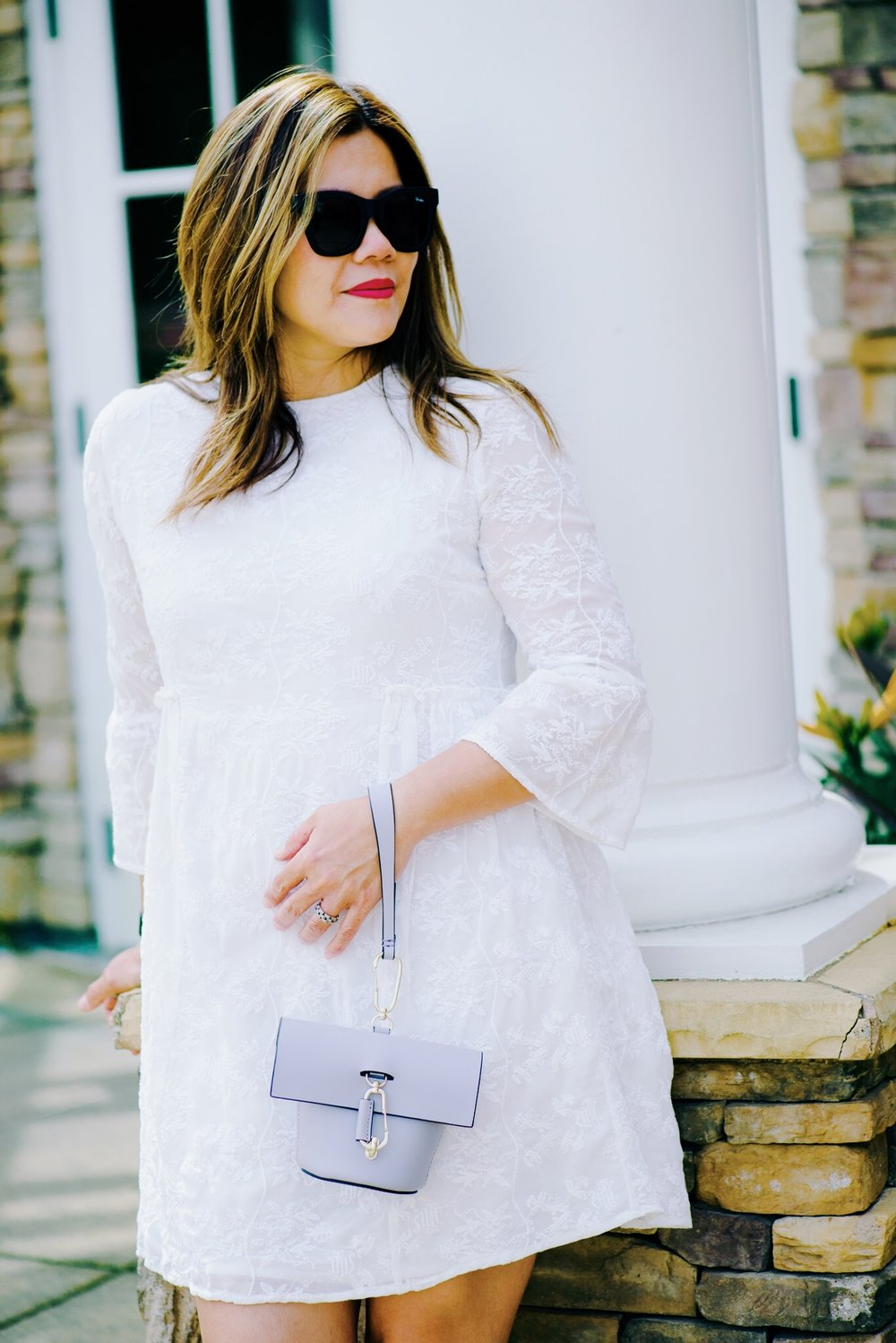 momlikethat white lace dress mango with zac posen bag.JPG
