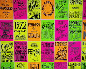 Kelly Doley,  Things Learnt About Feminism #1-#95 , 52 x 60 cm, ink on 220 gsm card, 2014