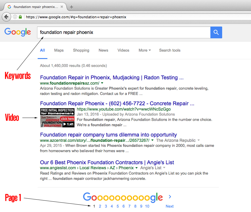 Arizona Foundation Solutions - Page 1 in Google Search - top videoKeyword: foundation repair phoenix