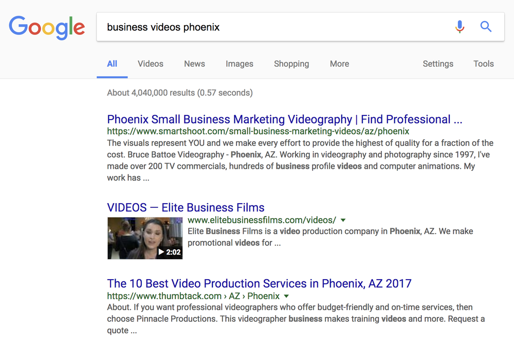 Elite Business Films - Page 1 in Google Search - top videoKeyword: business videos phoenix