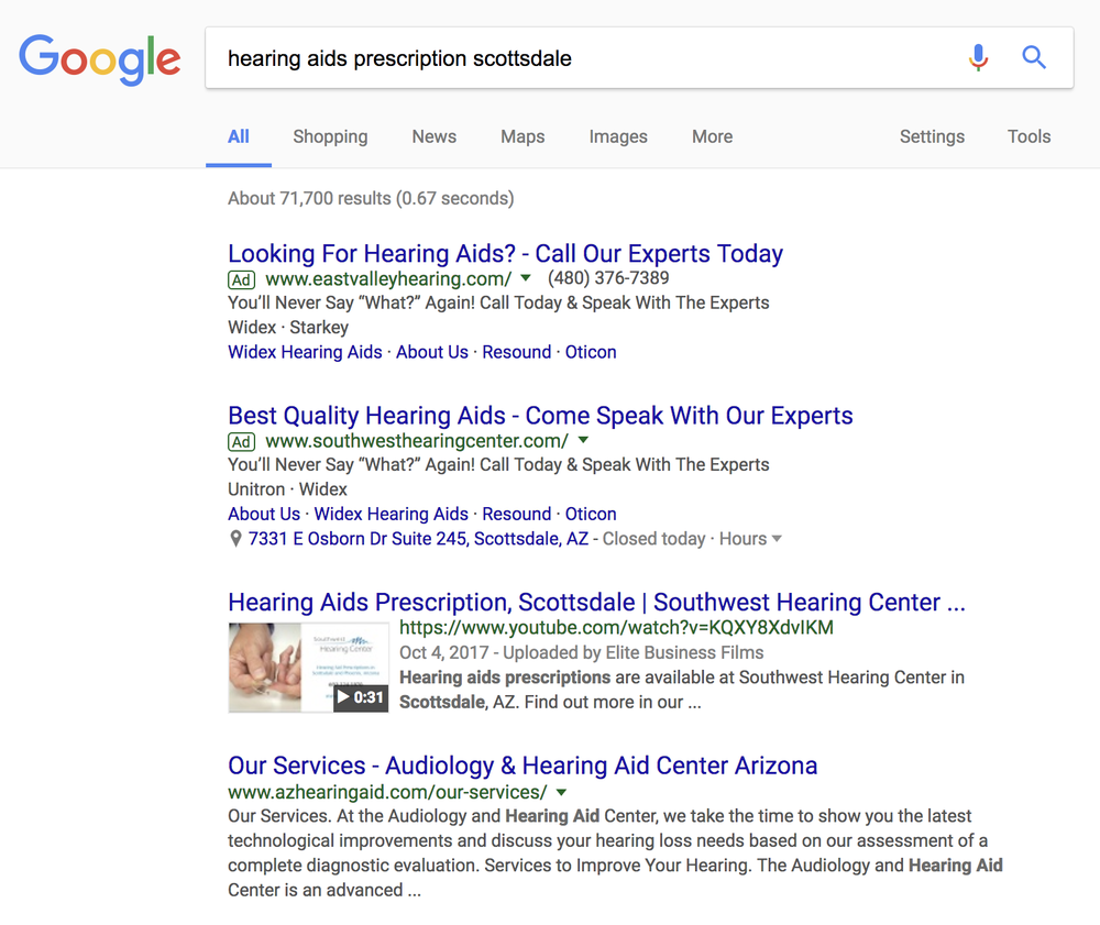 Southwest Hearing Center - Page 1 in Google Search - top videoKeyword: hearing aids prescription scottsdale