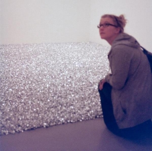 Kim with Felix Gonzalez-Torres installation at MOMA