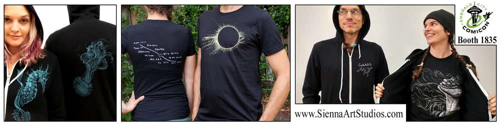 This year pick up Tshirts and Hoodies of these three designs! Solar Eclipse and Touch both have their data printed on the back, while the Aquatic line has the Seahorse image on the front and the Jellyfish on the back.