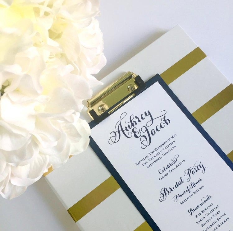 Type-A-Invitations-Mom-in-Manolos-Navy-Gold-Custom-Wedding-Program.jpg