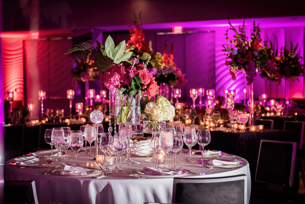 DC Purple and Red Wedding Table Decor