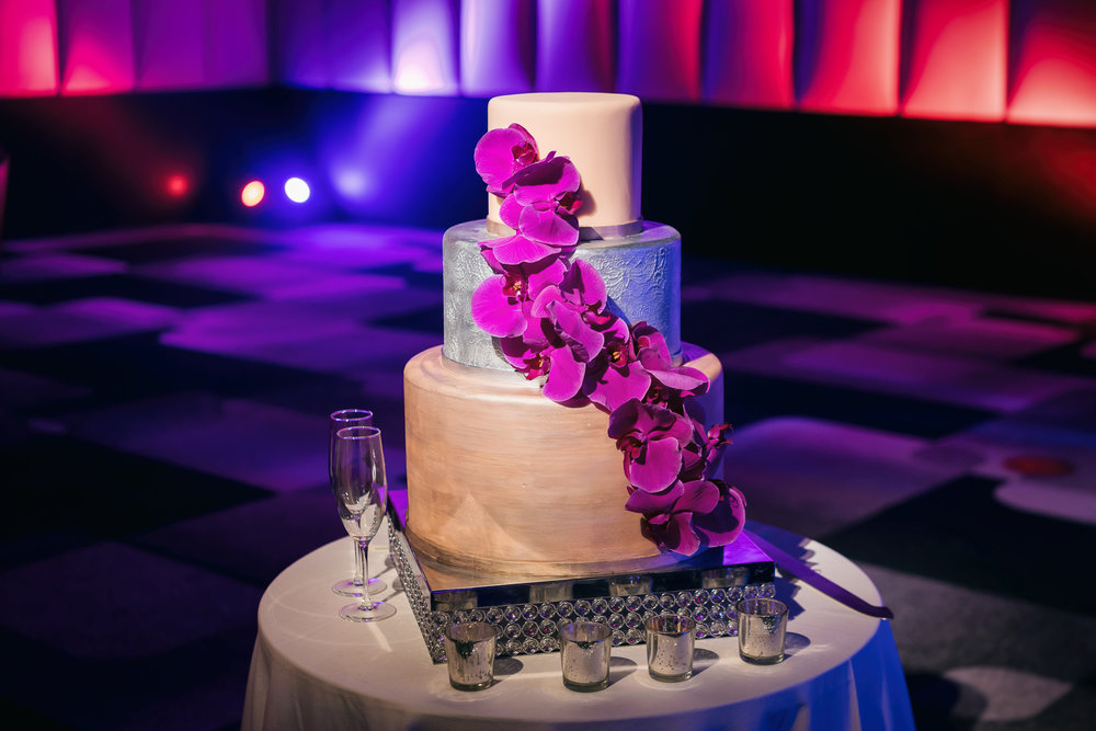 Purple Fucsia Orchid Wedding Cake Cedric & Tyler