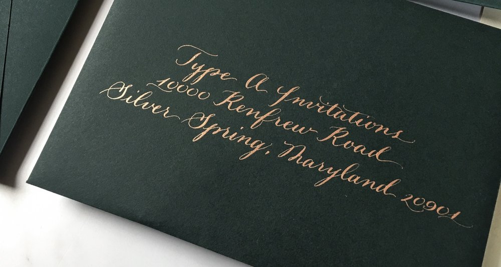 Each envelope was hand written with copper metallic ink by Emily van der Linde.