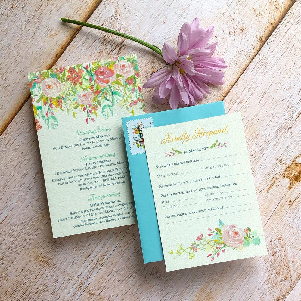 TypeA_WeddingInvitations_SemiCustom_SpringFloral_Design_Purple-Blue-Pink_2DifferentRSVP-Sets.jpg