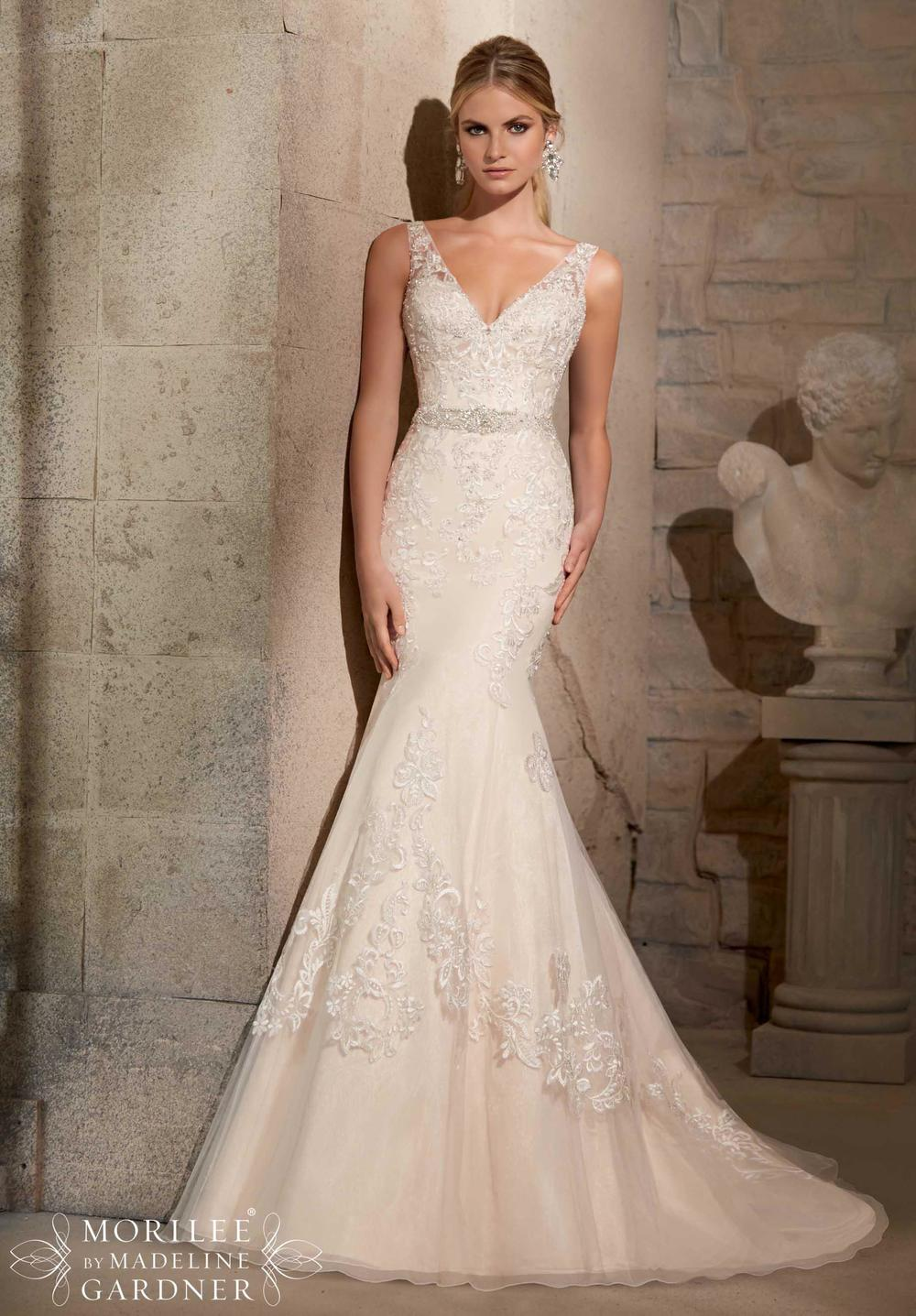 V-Neck Wedding Dresses By Mori Lee