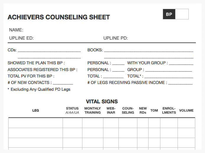 ACHIEVERS COUNSELING SHEET