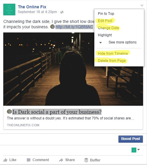 Editing a post in Facebook - you have options