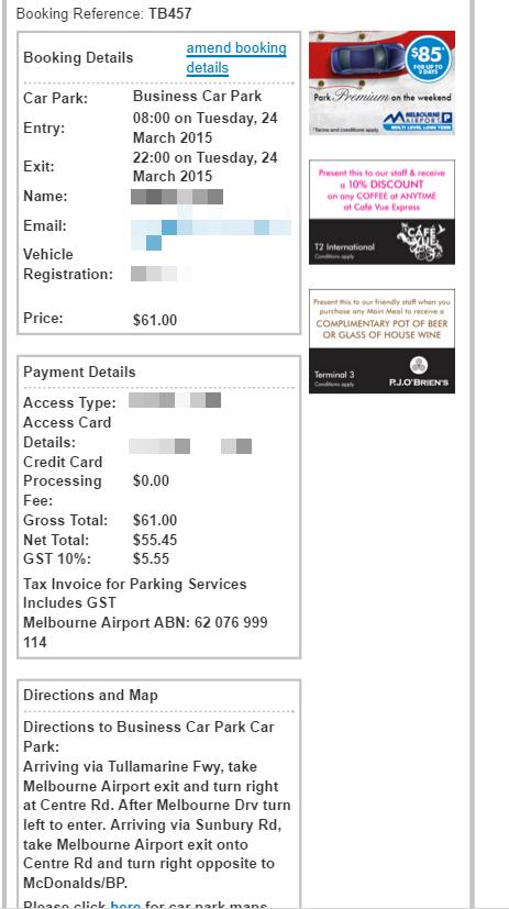 Airport parking receipt