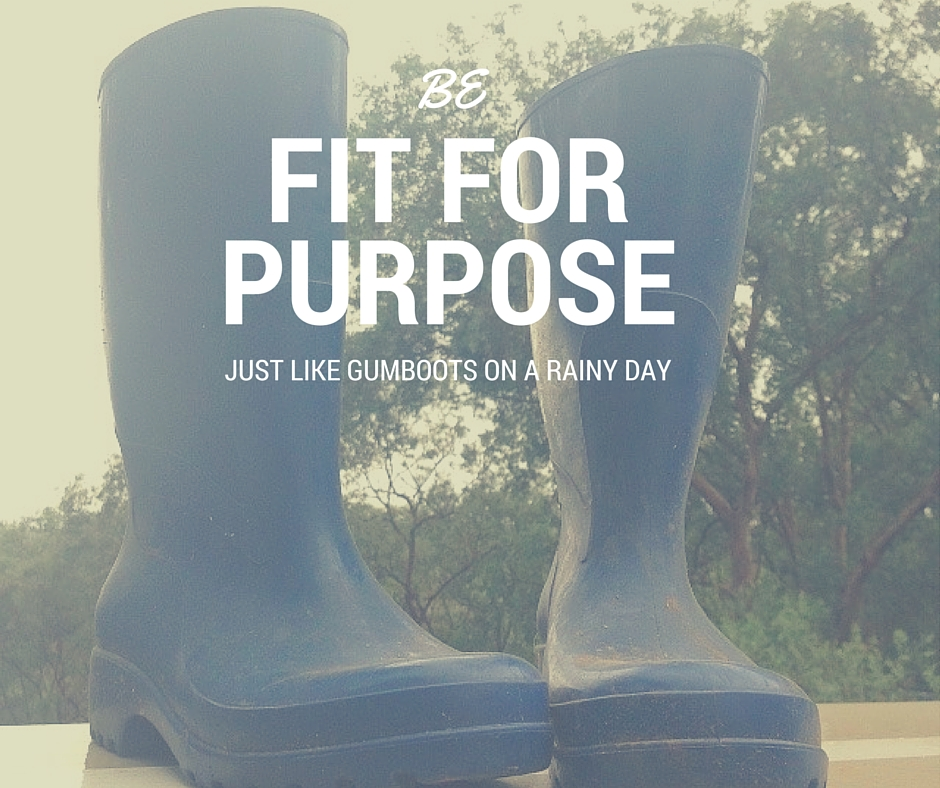 Be fit for purpose just like gumboots on a rainy day