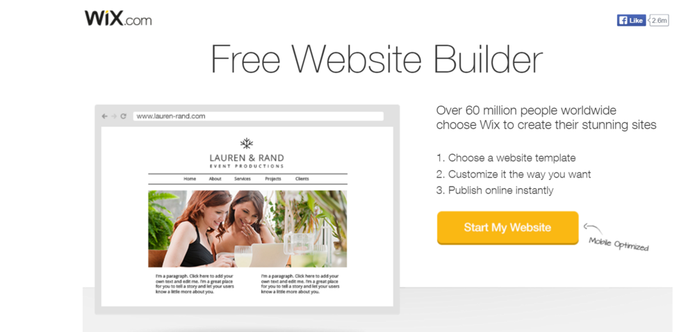 Wix example landing page