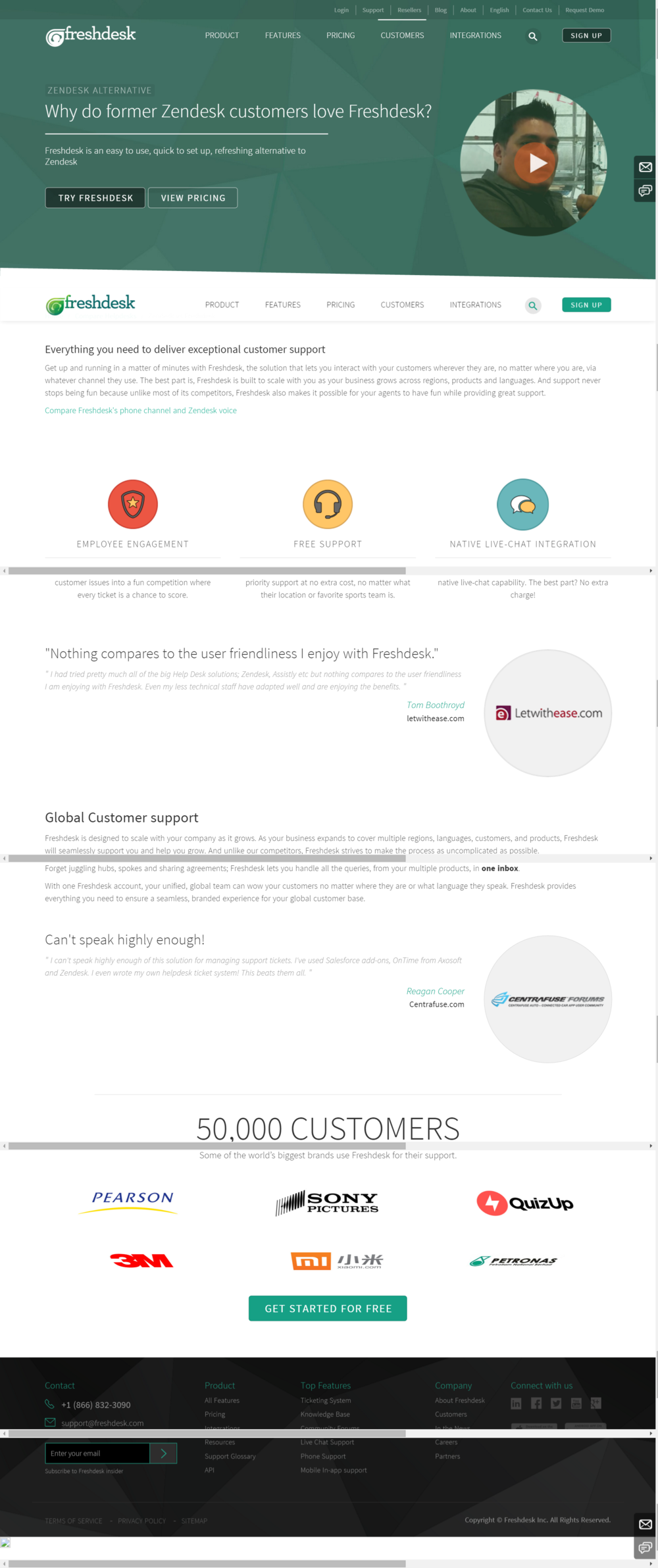 Second landing page example for Zendesk alternative