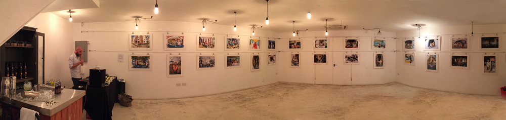 A panoramic view of the gallery taken with my iPhone before guests arrived