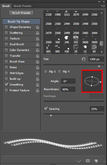 The Brush panel offers quite a lot of possibilities to tweak your brush. In our case we won't need much, but we'll see later on how powerful it can be.