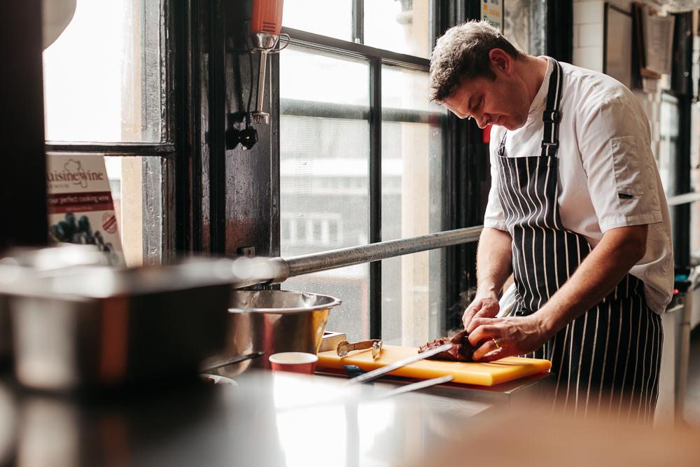 Executive chef Tony Moyse preparing food