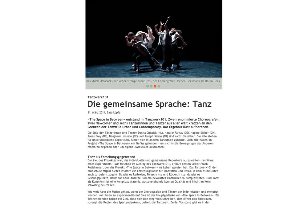 Tanzwerk production in Migros Magazin