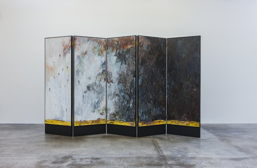Cool Change 2016 Oil on board recto, gilding verso. Five panel screen 180 x 320 cm