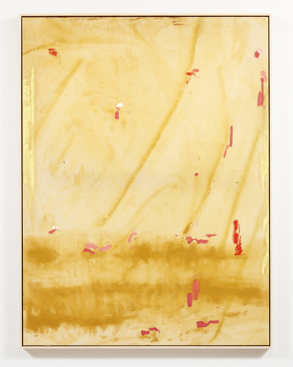 """33°55'19.8""""S 151°17'18.0""""E acrylic dye and oil stick on polyester silk 121 x 91 cm"""