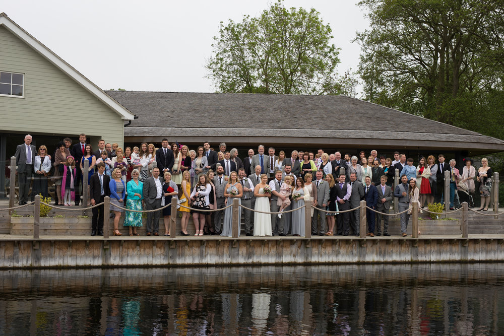 Unique wedding group shot
