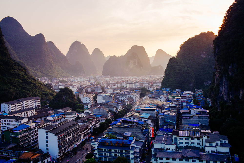 Sunset over Yangshuo town