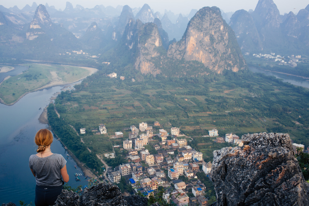 Still proud of Christina and I for making it to the top of Laozhai hill on her last day in Yangshuo. We were both sick and the hike up was very, very challenging, but I'm glad we didn't give up, as the sunrise was epic.