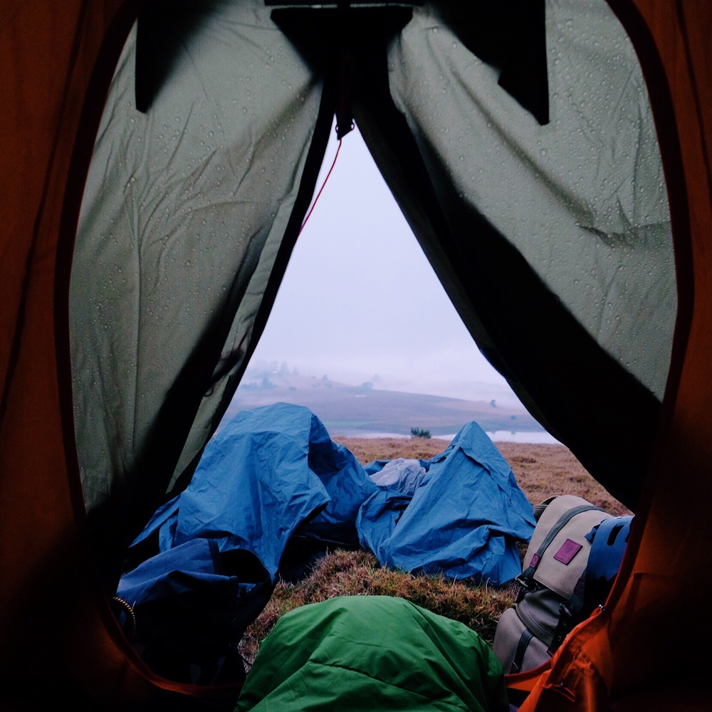 The view from inside my tent the next morning, after a cold, wet night...