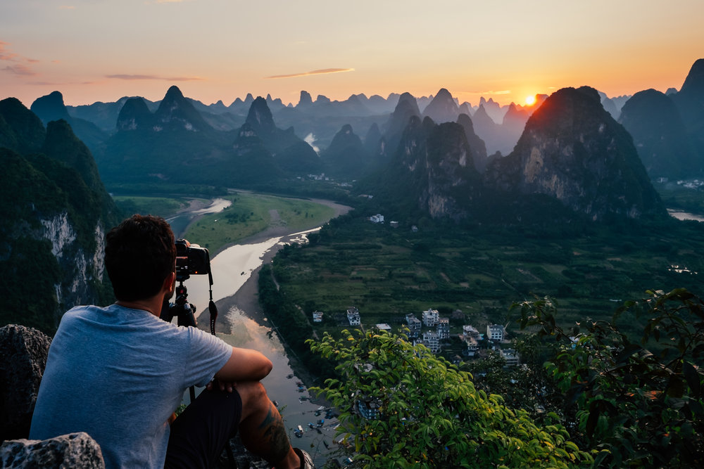 Sunset over the Li river, China