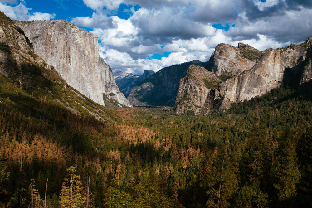 The iconic Yosemite Valley seen from Tunnel View