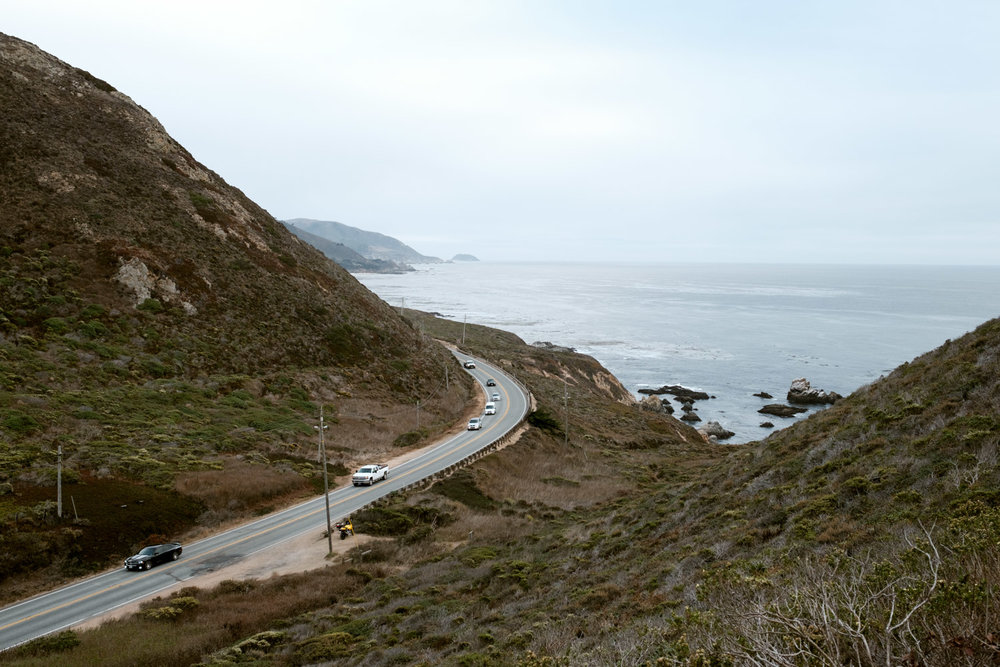 A little hike to the top of this hill so we could get some wider perspective of Highway 1