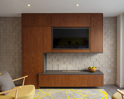 Residential fireplace, wall and solid surface