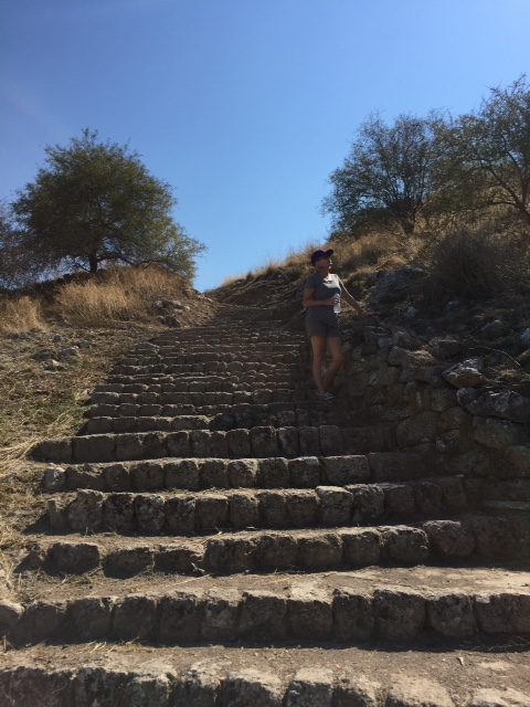 The steps of Acrocorinth.  This after hiking up the mountain.