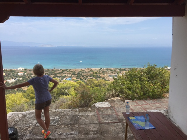 Morgan looks over the sea off Agistri after our hike to this church.