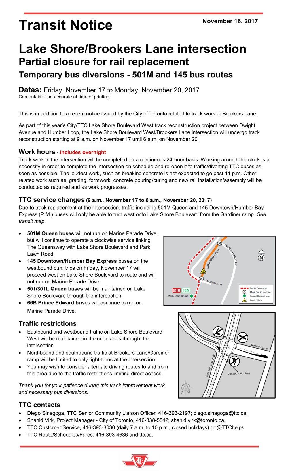 Transit notice - Lake Shore - Brookers intersection - Nov 2017-1.jpg