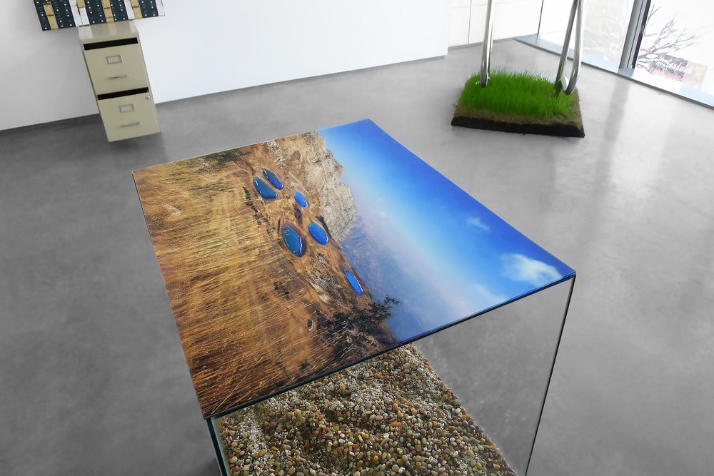 "Laqlouq Lakes II , 2014, 30""x 24""x 42"" (61 cm x 76.2 cm) double-sided digital c print sandwiched in plexiglass, hydrophobic coating, water (replaced daily), glass terrarium, gravel, birch wood base"