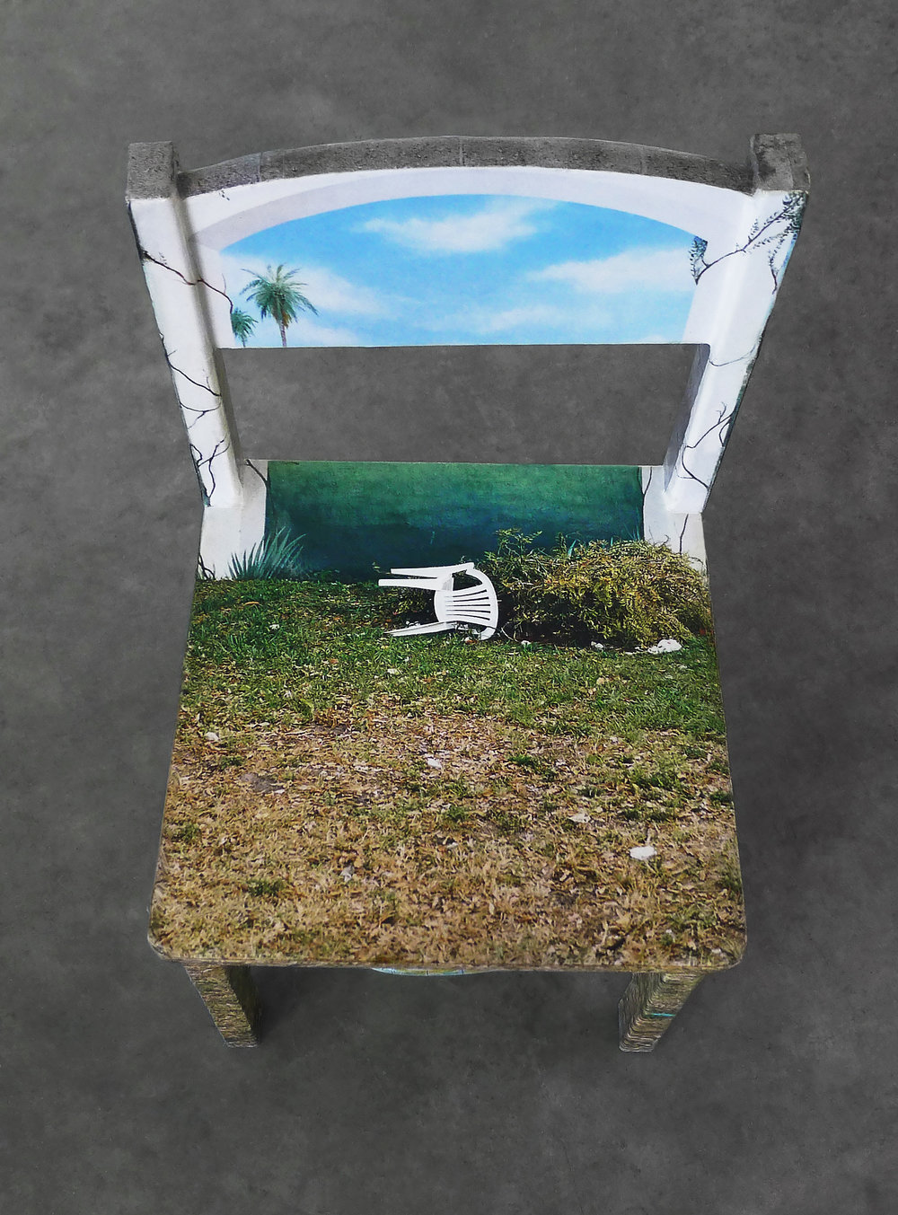 "Chair Mural II , detail, 2014, 11""x 11.5""x 21"" (28 cm x 29.2 cm x 53.3 cm), archival inkjet print, glue, wood chair, inflatable globe"