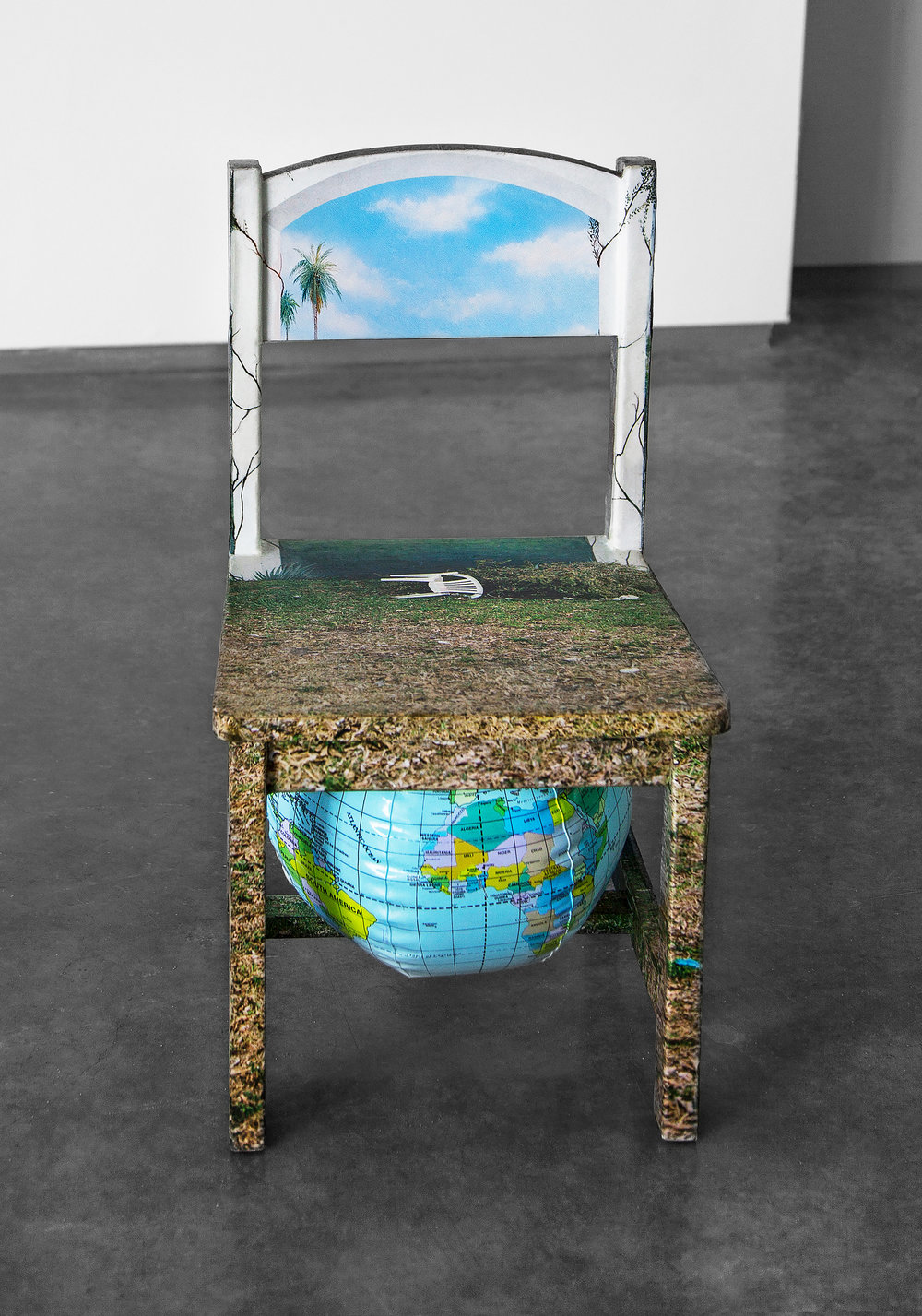 "Chair Mural II , 2014, 11""x 11.5""x 21"" (28 cm x 29.2 cm x 53.3 cm), archival inkjet print, glue, wood chair, inflatable globe"