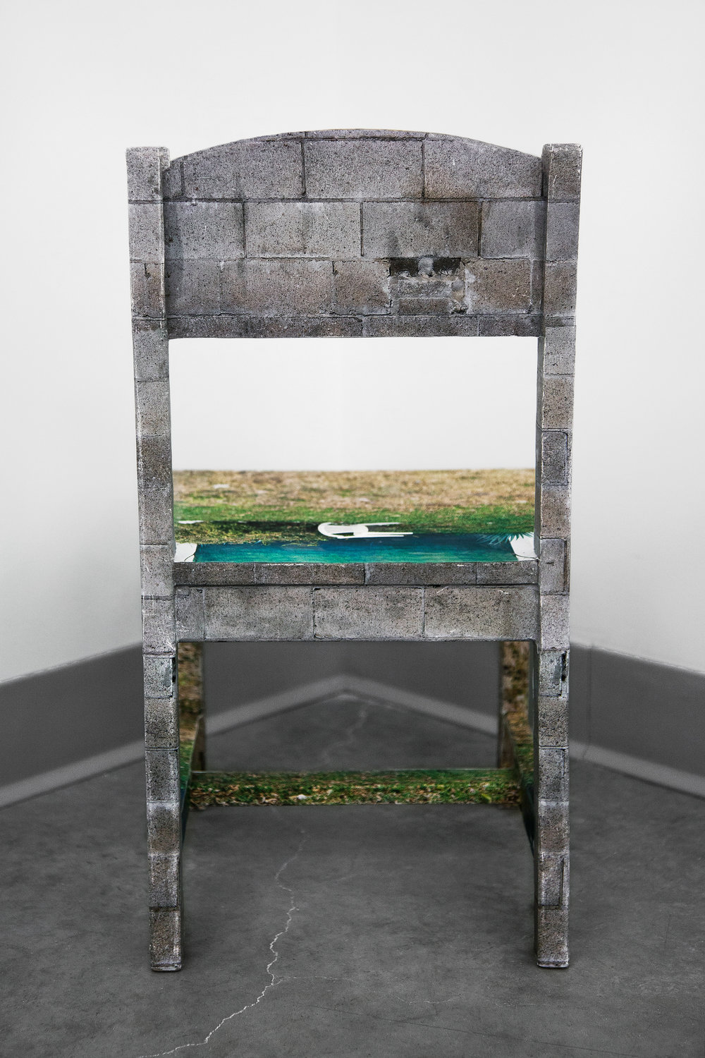 "Chair Mural II , back view, 2014, 11""x 11.5""x 21"" (28 cm x 29.2 cm x 53.3 cm), archival inkjet print, glue, wood chair (inflatable globe not pictured)"