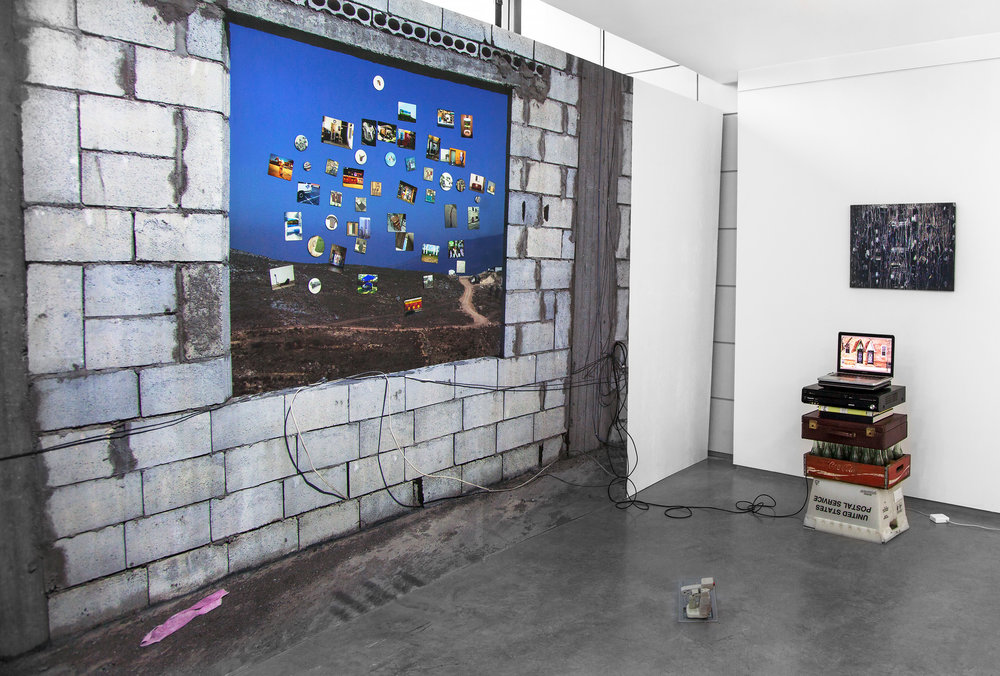 "Wallpaper ,   2014, magnetic primer, vinyl wallpaper, photo magnets, ethernet cord, 96""x 144"" (243.8 cm x 365.8 cm)"