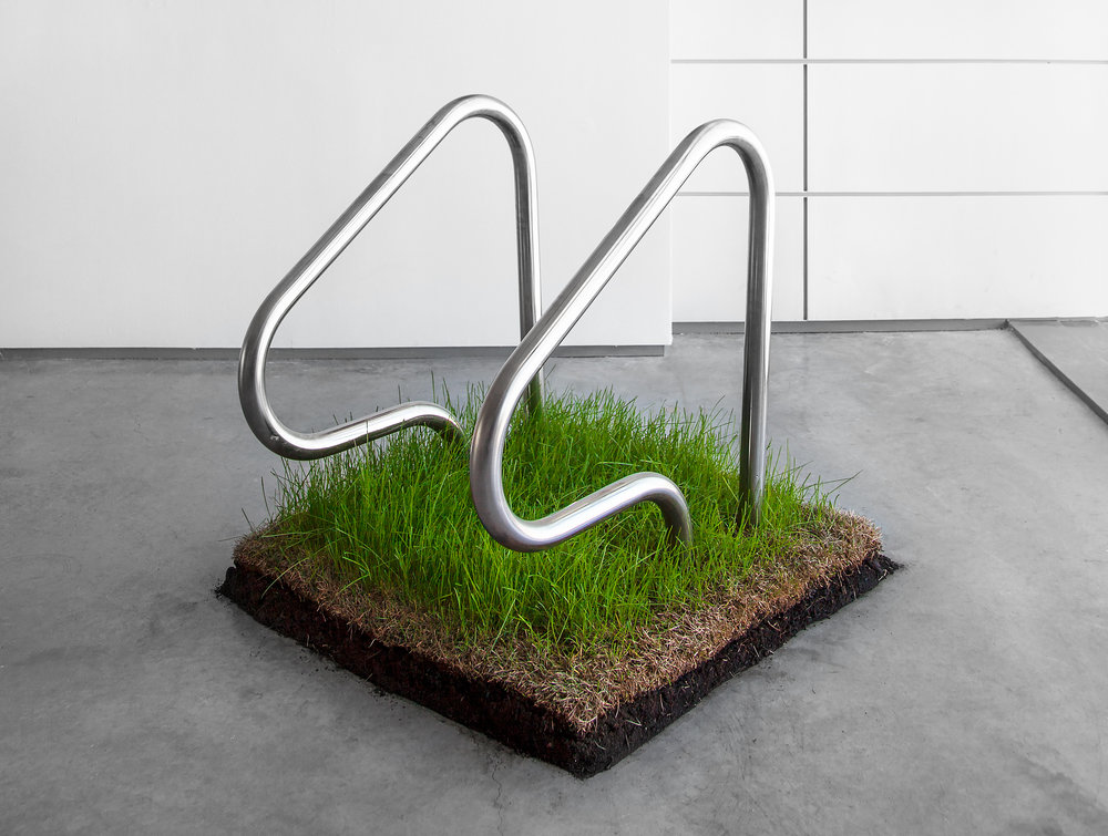 "Lawn Rails  ,  2014, 36""x 36"" x 36"" (91.4 cm x 91.4 cm x 91.4 cm), stainless steel, sod, soil, wood base"