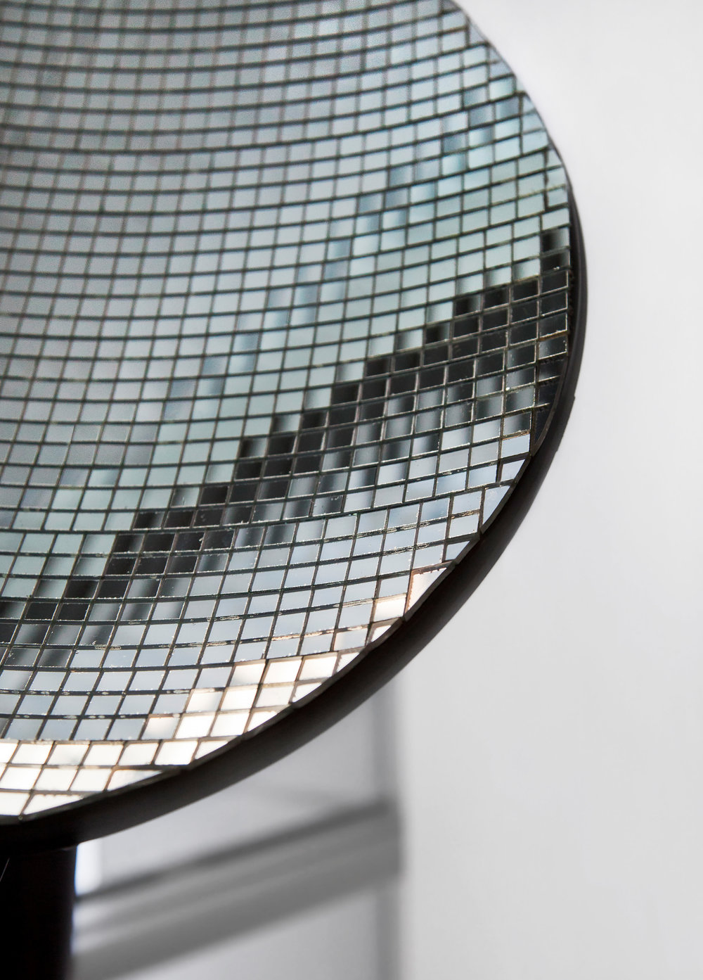 "Reflector , detail, 2014, 18""x 20"" (45.7 cm x 50.8 cm), satellite dish, glue, glass mirror tiles"