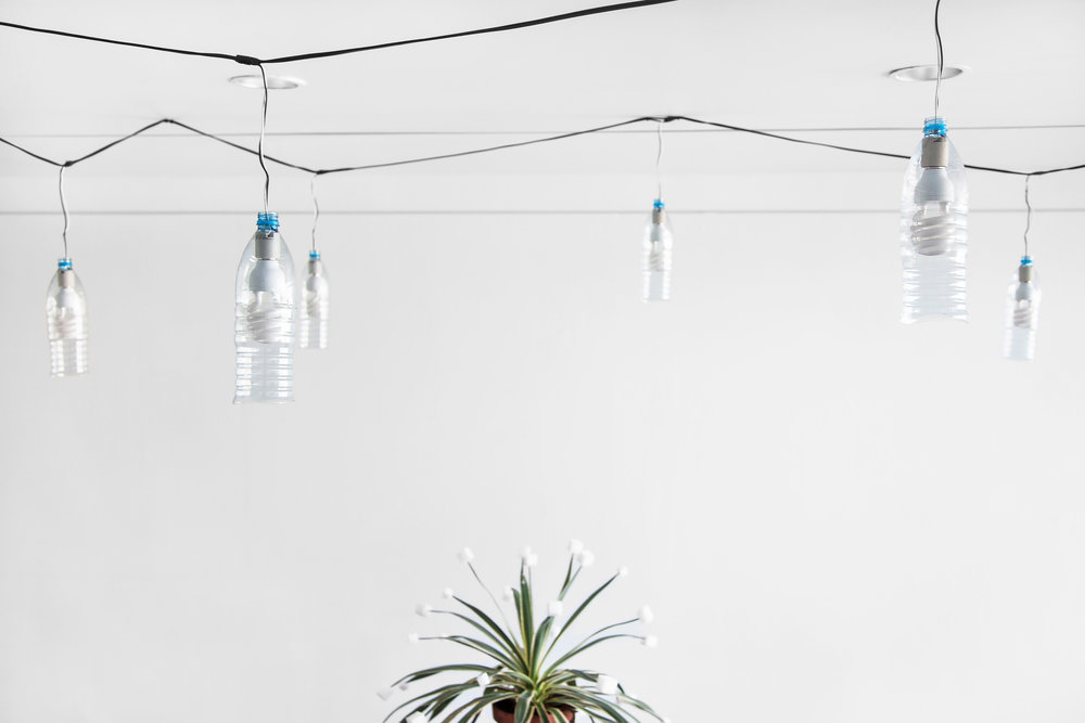 "String of Sohat , 2014, 22 Sohat water bottles, 22 60W daylight bulbs, weather proof cable/ plug, 48' (576"" long, 14.6 m)"