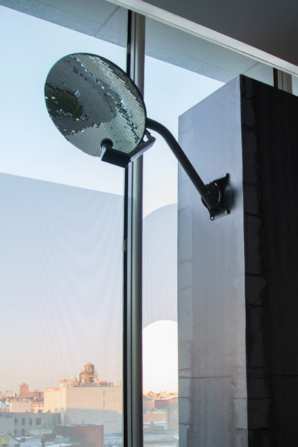 "Reflector , 2014, satellite dish, glue, glass mirror tiles, 18""x 20"" (45.7 cm x 50.8 cm)"