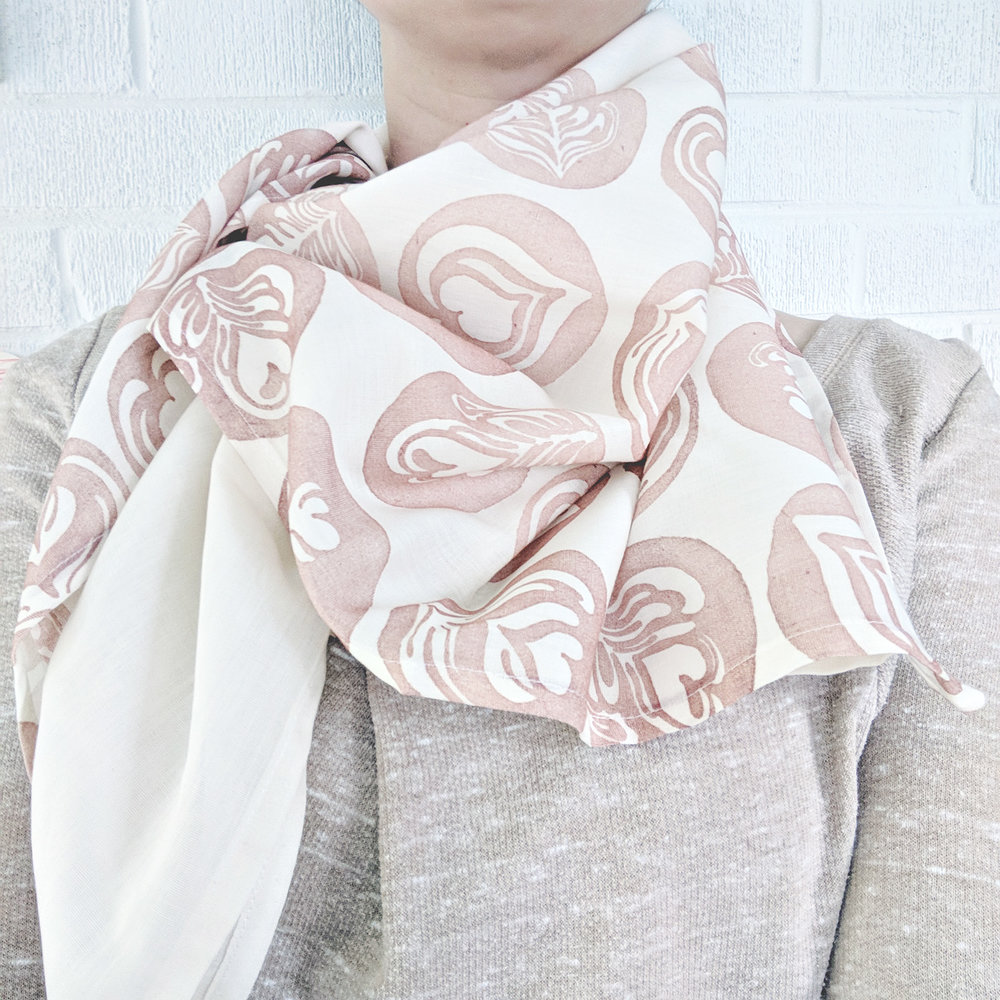 Latte Art Hand-Stamped Blanket Scarf